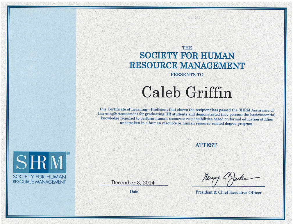 Caleb Griffin Receives SHRM Assessment of Learning Recognition ...